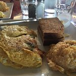 Omelet with hash brown casserole and toast.