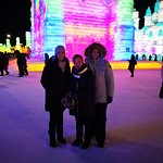 Samantha Song with her clients are  from Australia, they just book our english-speaking private tour via website, and I show there hotel on time, and took them go to Harbin ice and snow world Feb 16 2019