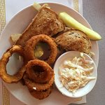 Patty Melt - substitute turkey burger with a side of Onion Rings