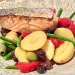 Warm Salmon Salad with olives, new potatoes, green beans, sun-dried tomatoes.