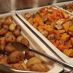 Beautifully steamed veges and roasted potatoes, kumara and pumpkin