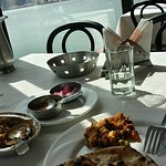 Food with Ganga River in Background
