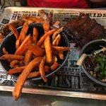 Sweet potato fries and ribs n wings