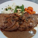 Beef Diane! Pan seared Beef Tenderloin with a Mushroom & Dijon Demi-Glace Sauce! YUM.