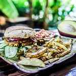Healthy plant based food made from scratch in a little tropical oasis.
