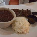 Cuban Steak with Black Beans and Rice.
