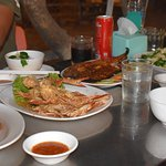 Crabs, shrimps and fish