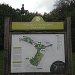 Park information board below statue