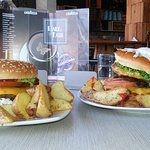 This is a Sheila Cheese Burger, 4.00 euros and a Georgios Double Burger with ham and sauteed onions, 6.50 euros. They're both perfect!