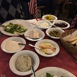 Meze dishes as part of the Fish Meze combo.