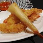 Camarão panado e crepe de camarão