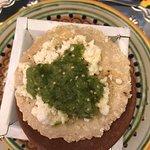 Appetizer - Mole, Queso, Homemade Tortilla.  Yum!