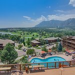 Heated Resort pool and hot tub overlooking the mountains