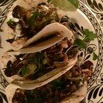 Mushroom tacos on flour tortillas