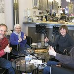 Jim, June, Nancy and George at lunchtime at The Cheese Gallery. We gathered to celebrate Jim's b