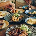 From the Wood Grill, BBQ Half chicken Basted, Prawn Dumplings, Fried Calamari... Bon Apetit!