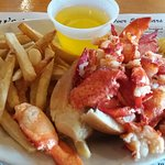 Lobster roll with fries - more lobster than roll!