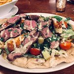 Chef Special- Ras El Hanout marinated    Rump of Lamb served on Garlic Flatbread topped with Salad & grilled Halloumi finished with Mint Yogurt & Herbs 👑👨🏻🍳🥗😋👌🏻