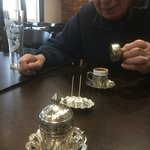 Lovely Turkish coffee to finish with, of course, Turkish delight.