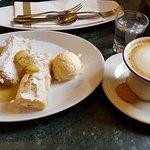 Apple strudel, cheese strudel, vanilla ice-cream, cappuccino