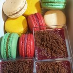 New Year's Eve package - macarons, chocolate and strawberry layered dessert
