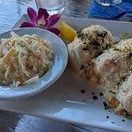 Stuffed flounder with pineapple cole slaw.