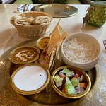 Veggie thali (you can ask to opt roti instead of rice).