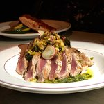 Seared Ahi Tuna with Brown Butter, Chevre Gnocchi, Pesto, and Brussel Sprout, Apple Radish & Pancetta slaw (without the Pancetta)