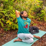 Yoga in the forest in front of begnas Yoga