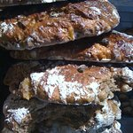 A stack of fruit and nut bread
