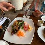 Beautifully presesnted sashimi salad