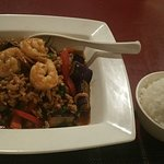 Thai Spicy Eggplant with minced chicken and shrimp