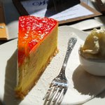 Normanville Kiosk and Cafe  mango mascarpone cheesecake  and side serve cream