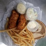 Try our 2 piece Cod Dinner, or our all you can eat Cod Dinner.  We also carry Poor Mans Lobster, Walleye, Perch, Smelt and Blue Gill.  All of which comes with Fries, Chippers or Potato Pancakes, Coleslaw, Rye Bread and Tartar sauce or Drawn Butter.