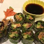 SPICY TUNA SUMMER ROLL - spicy tuna ,avocado, asparagus & spring mix wrapped in rice paper & sea