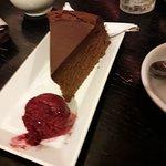 Bailey's cake with raspberry sorbet.