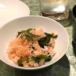 """rice was mixed with white baitfish (""""baby sardines""""), spicy cod roe and wakame seaweed"""