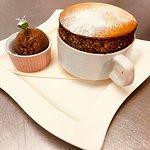 Pistachio soufflé with chocolate ice cream