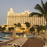 Looking east toward the main hotel structure at evening twilight
