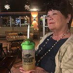 Jane, blissfully enjoying her margarita in a turtle cup. A wonderful memory and souvenier of our