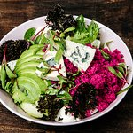 Blue Cheese & Beetroot  Peltolan Blue cheese, beetroot couscous, whipped smetana, avocado, kale chips, beetroot sprouts, salad, fennel, cucumber and vinaigrette
