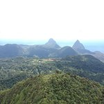 The summit of Mount Gimmie with the Pitons in the distance