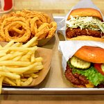 Signature sandwiches, the 30A Double, the Spicy Chicken, hand battered onion rings, perfect cut fries