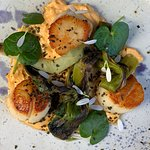 Scallops with a roe emulsion, charred sea leeks and scurvy grass