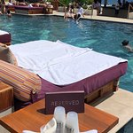 Daybed over the pool.