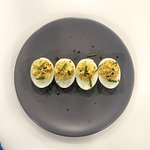 Our twist on deviled eggs! A little bit spicy!