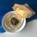 Our special hummus of the week: Olive + toasted walnut! And served with our from scratch fresh puffy pita!