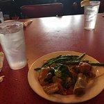 Happy China spring roll, green beans, Moo Goo Gai Pan chicken entree