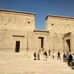 Magnificent 18 meters high first gates of Temple of Isis at Philae. To giant lion statues placed on bith sides of the gate. hieroglyphic on extreme showRamses beheading an enemy.