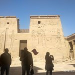 Right hand portion of Magnificent 18 meters high first gates of Temple of Isis at Philae.